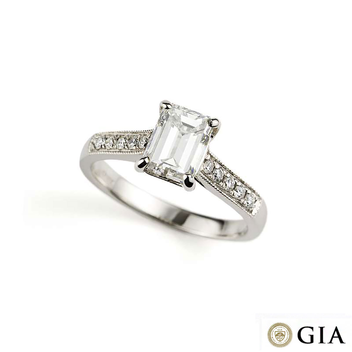 White Gold Emerald Cut Diamond Ring 1.51ct G/VS2